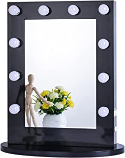 Chende Hollywood Makeup Vanity Mirror with Light Tabletops Lighted Mirror with Dimmer, LED Illuminated Cosmetic Mirror with LED Dimmable Bulbs, Wall Mounted Lighting Mirror (Black)