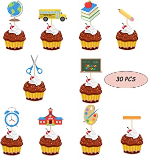 30 Pcs Back to School, Welcome Class Cupcake Toppers for First Day of School Welcome Party Decoration School Activities Teacher Gift Classroom Decor