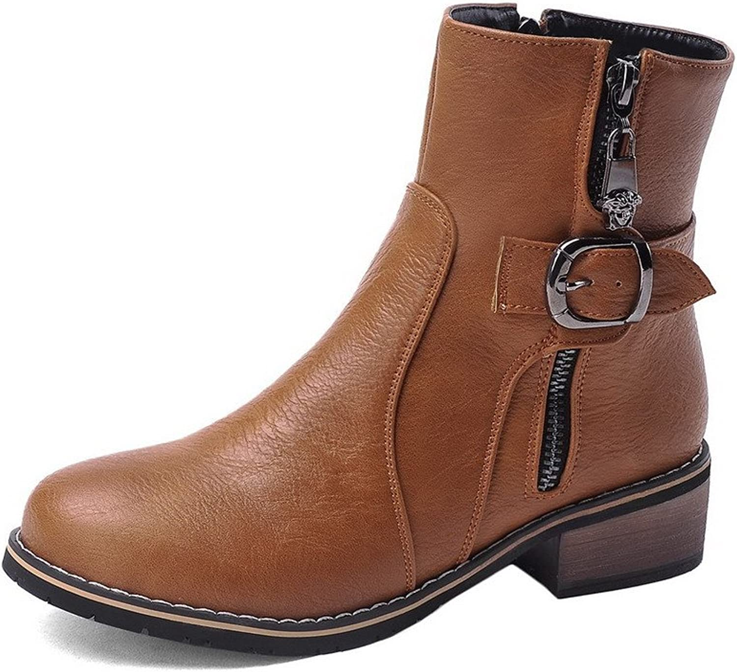 WeenFashion Women's Solid Round Closed toe Blend Materials PU Metal Buckles Boots