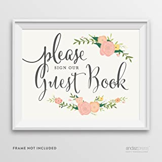 Andaz Press Wedding Party Signs, Floral Roses Print, 8.5-inch x 11-inch, Please Sign Our Guestbook, 1-Pack, Unframed