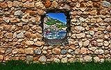 Vliestapete Fototapete in 3D-Optik Amalfiküste Tapete Designtapete Steinmauer mit Gras VT114