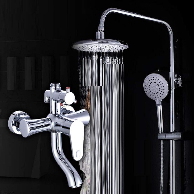 LWUDI Shower Systems with Rain Shower And Handheld,brass Third gear take a shower set, Bathtub Shower Lifting tube bathroom take a Shower Set,handheld shower and showerhead
