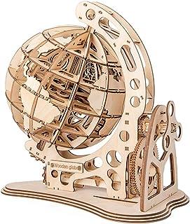 yofit 3D Wooden Globe Puzzle, Self Assembling Mechanical Drive, DIY Brain Teaser Puzzles