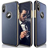 LOHASIC for iPhone Xs Case, iPhone X Case Leather Slim & Thin Soft Flexible Body Luxury [Gold Electroplated] Bumper Anti-Slip Grip Scratch Resistant Protective Cover for iPhone X XS (2018) - Navy Blue