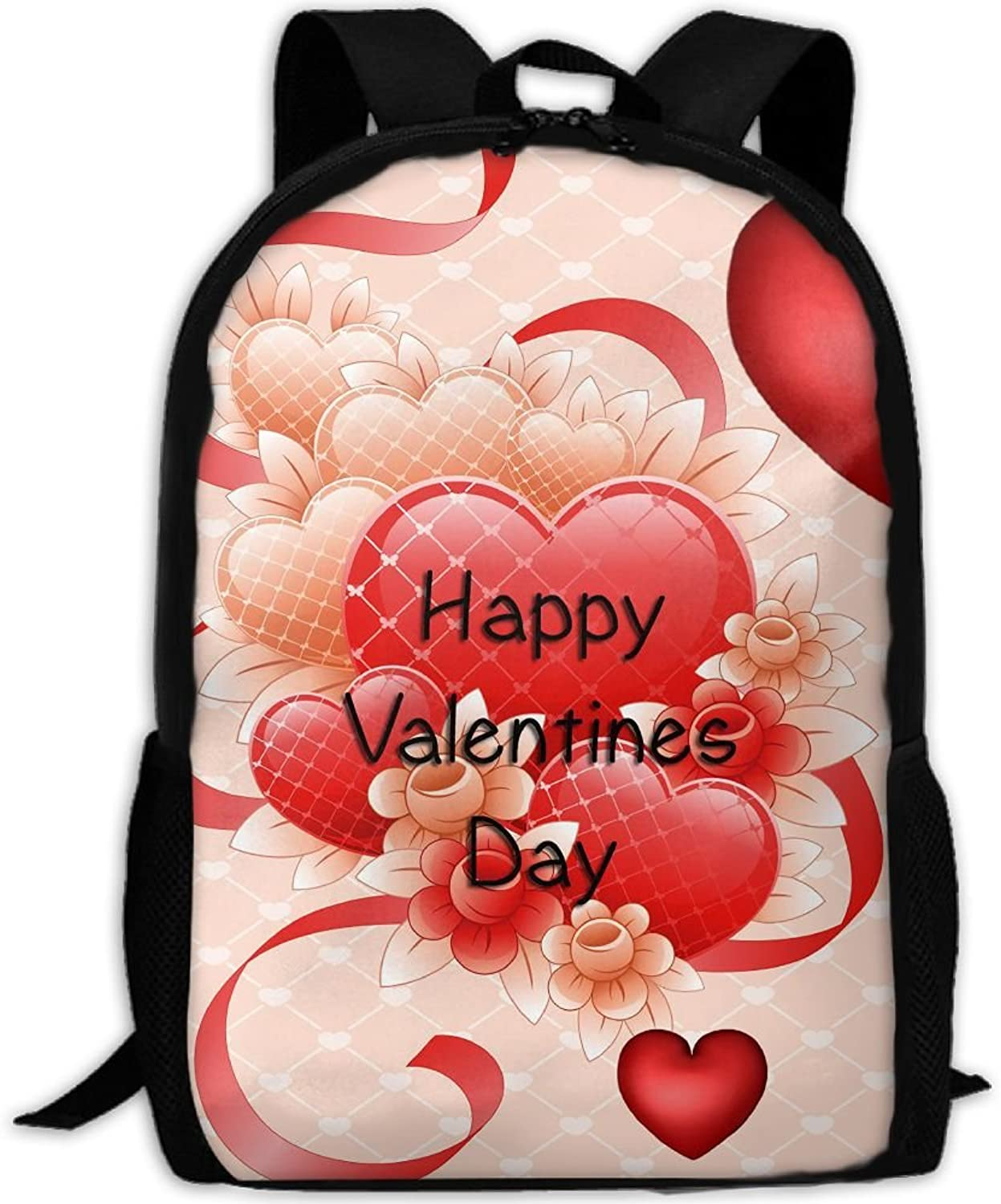 Red Hearts Happy Valentine's Day Adult Backpack College Daypack Oxford Bag Unisex Business Travel Sports Bag