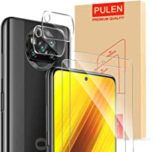 [4-Packs] PULEN for Xiaomi Poco X3 NFC Screen Protector (2 packs) with 2 Packs Camera Lens Protector,HD Clear Anti-fingerp...