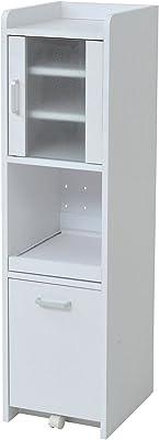 JKプラン 隙間収納 キッチン ミニ 食器棚 キッチン家電収納 家電ラック 家電収納棚 幅30 高さ 120 FKC-0645-WH