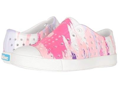 Native Kids Shoes Jefferson Print (Toddler/Little Kid) (Shell White/Shell White/Pink Multi Splatter) Girls Shoes