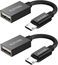 Micro USB to USB, Micro USB 2.0 OTG Cable,(2 Pack) On The Go Adapter,Micro USB Male to USB Female for Samsung S7 S6 Edge S4 S3, LG G4, DJI Spark Mavic Remote Controller, Android Tablets (Black)
