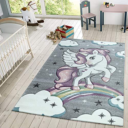 TT Home Alfombra Infantil De Juego Moderna Diseño De Estrellas Unicornio Y Nubes En Gris, Größe:Ø 133 cm Quadrat