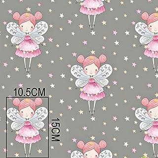 Pingianer - Tela de algodón para niños, 100% algodón, diseño de hada, algodón, Estrellas de hada gris., 100x160cm (11,99€/m)
