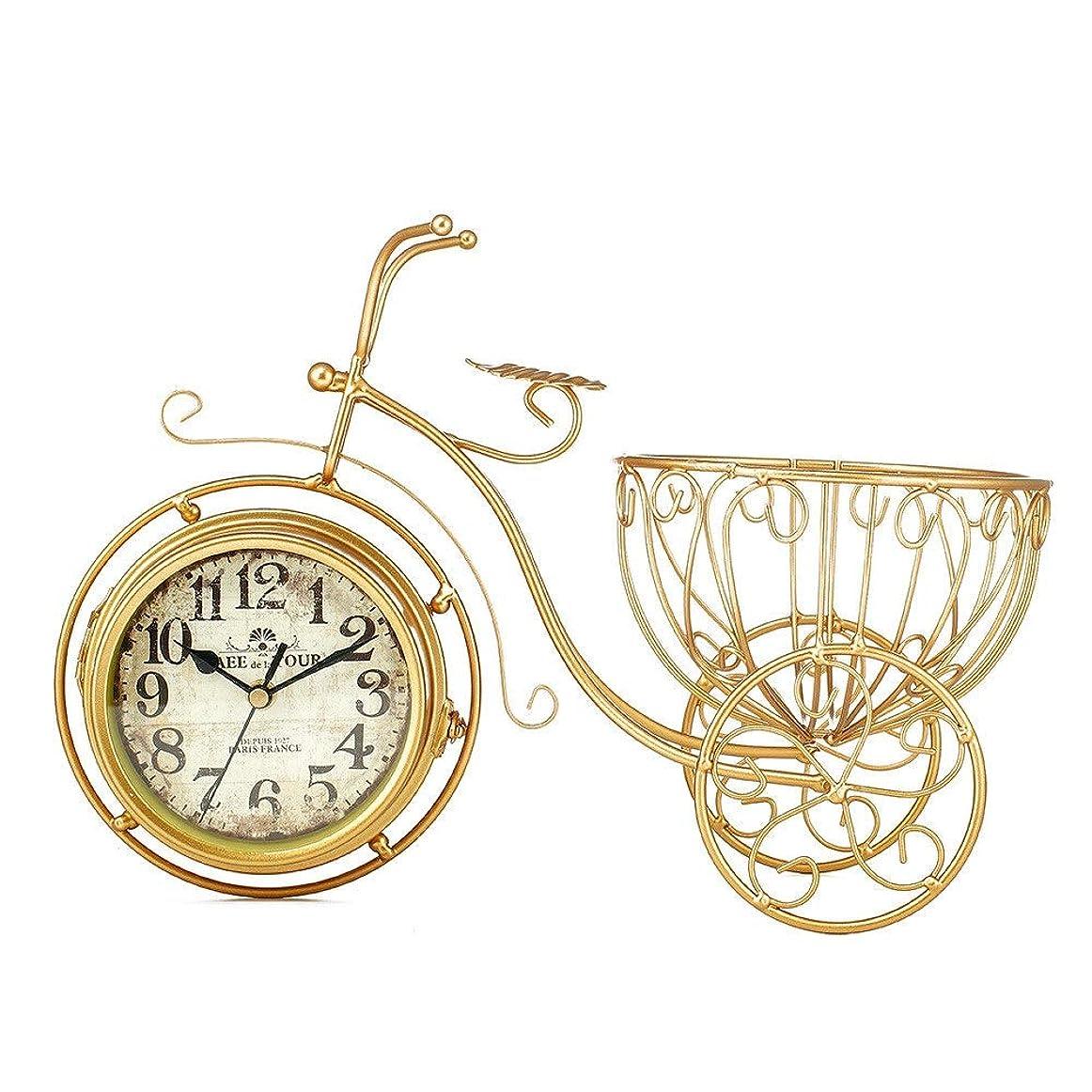 曇った便利さフィラデルフィア置き時計 レトロ 電池式レトロの自転車の時計のデザインの居間の装飾的な非刻々と続く数字 (色 : ゴールド, サイズ : 37x27cm)