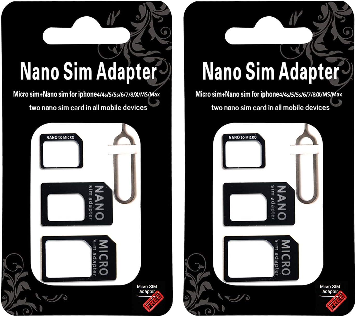 2 Pcs low-pricing SIM Card Adapter Kit - Nano Converte 1 in Micro 4 Standard Max 83% OFF
