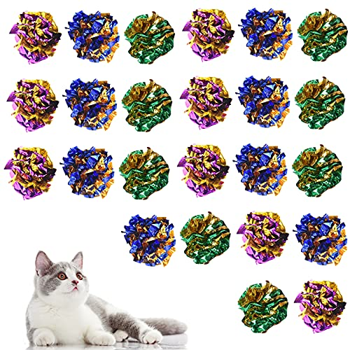 24 Piezas Juguetes del Gato 6CM, Juguetes para Gatos, Juguete Gatos Coloridos Balls para Gatos Brillante Arruga Mylar Bolas Crackle Ligero Pelotas Gato Gatito Interactivo