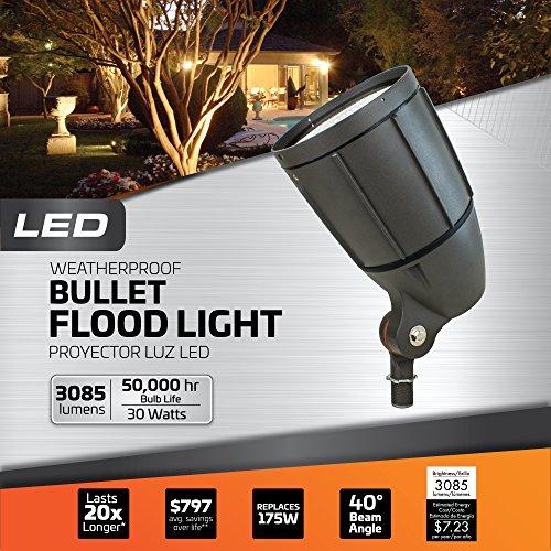 Newhouse Lighting BLF30BRZ 30-Watt Die-Cast Aluminum LED Bullet Flood Outdoor, Weatherproof Landscape Lighting 3085 Lumens, 3000K Warm White, 1/2