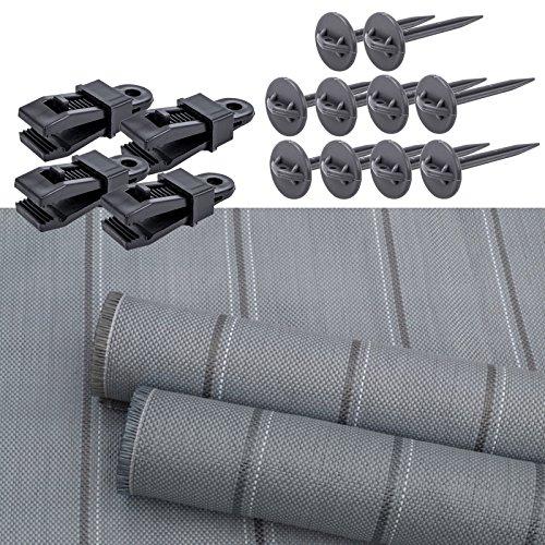 Arisol Vorzeltteppich 250x400 inklusive 4X BO-Camp Teppichclips und 10x Zeltheringe für Wohnwagen oder Wohnmobil