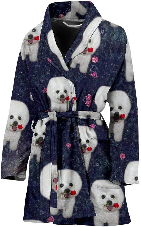 Deruj Cute Bichon Frise Floral Print Women's Bath Robe