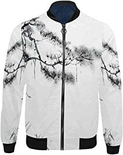 Xray Flower Bomber Jacket,X ray Image of Hortentia Flower Nature Inspired Deeper Crystal Light Close Look Art for Travel,XS