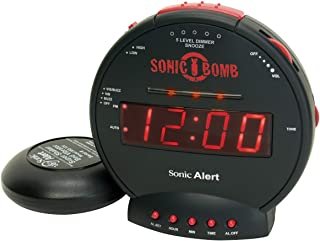Geemarc SBB500SS-IG Sonic Bomb Väckarklocka med Vibration (85 dB), Svart, 14,0 x 14,0 x 7,0 cm
