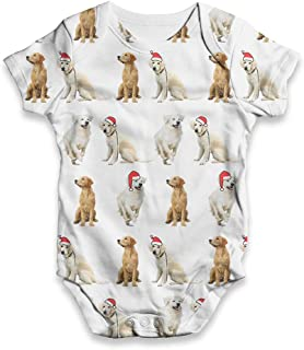 All-Over Print Baby Bodysuit Golden Retrievers Santa Hats Pattern