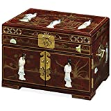 ChinaFurnitureOnline Jewelry Box with Mother of Pearl Maidens on Red Lacquer
