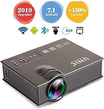GBYNB Proyector Portátil Inicio LED 1080P HD Proyector De Video Casero para PC/Mac/TV/Película/Juegos con USB/SD/AV/HDMI/VGA (Negro/Blanco)