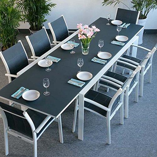 Lazy Susan Table Aluminium et Verre Violet et 8 Chaises Georgia - Blanc & Gris   Grande Table...