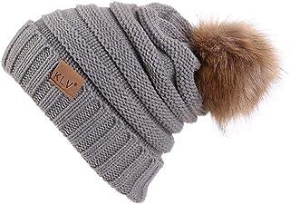 HGWXX7 Unisex Men Women Baggy Warm Crochet Winter Wool Knit Ski Caps Skull Beanie Slouchy Hat with Pom Pom