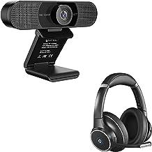 1080P Webcam with Bluetooth Headset, eMeet C960 Web Camera with 2 De-Noise Mics, ENC Noise Cancelling Headphones with 4 Mi...
