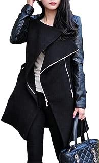 Womens Overcoat Zipper Faux Leather Splice Warm Outwear Pea Coat Black XL