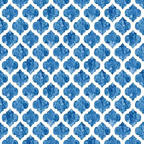 Kt KILOtela Tela por Metros de loneta Estampada Digital - Ancho 280 cm - Largo a elección de 50 en 50 cm   Geométrico. Celdas - Azul
