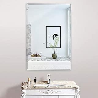 KOHROS Oval Beveled Polished Frameless Wall Mirror for Bathroom, Vanity, Bedroom (18