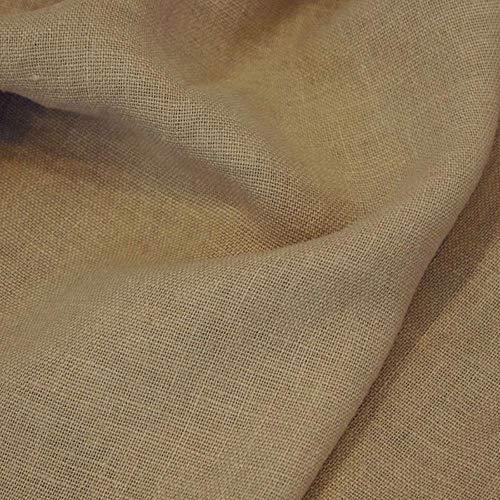 TOLKO 50cm Leinen-Stoff als Meterware | blickdichter Naturstoff | für Hose Rock Bluse Kleider Gewänder | fein gewebter Dekostoff für Vorhänge Gardinen und Dekorationen | 140cm breit (Erd-Braun)