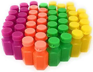 4E's Novelty Mini Neon Bubble Bottles Assortment, 48 Pack Wands Connected to The Caps. Small Carnival Prizes for Kids Bulk, Great Summer Party Favors, Birthday Parties Supplies 1.75 Inches