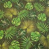 Stoff Meterware grün Blätter Dschungel Monstera