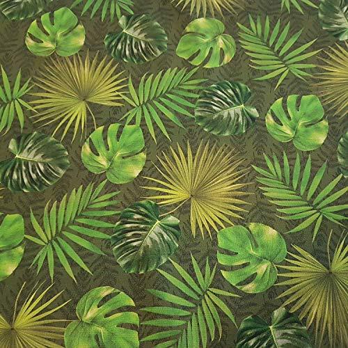 Stoff Meterware grün Blätter Dschungel Monstera Outdoorstoff Teflon Dralon Gartentischdecke lichtecht