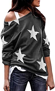 Tops for Women, Ladies Long Sleeve Star Print Off Shoulder Plus Size Shirts Loose Casual Blouses