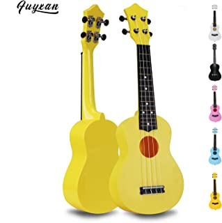 Soprano Ukulele Hawaiian Guitar Musical Instrument with Nylon Strings for Beginners Kids Students, FUYXAN 21 Inch Ukulele Toy for Kids Starter Uke for Gift, Yellow