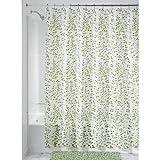InterDesign Botanical EVA/PEVA Cortinas de ducha de EVA, cortina impermeable para bañera y ducha, cortina de baño de 183,0 cm x 183,0 cm, verde/blanco