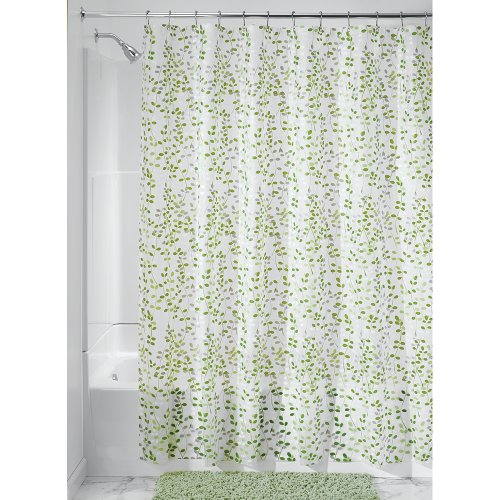Price comparison product image iDesign 32480 Botanical EVA / PEVA Shower Curtain,  183.0 cm x 183.0 cm Waterproof Curtain for Shower,  Made of EVA,  Green / White Floral Pattern