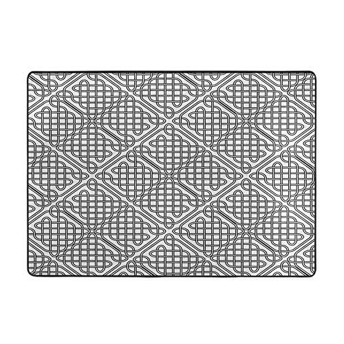 Soft Area Children Baby Playmats Celtic Decor Medieval Irish Striped Binding Square Shaped Patterns Old 84' x 60' Floor mat