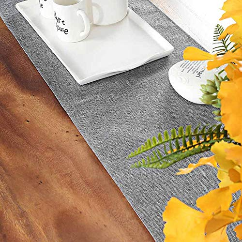 Hooqict Gray Table Runner 12 x 48 inch Elegant Polyester Farmhouse Table Runner for Wedding Dining Party Decorations Thanksgiving Bridal Party Supplies