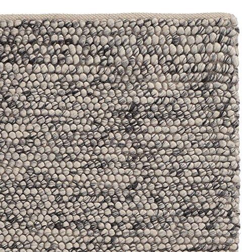 """URBANARA Teppich """"Ravi"""" - Schurwolle/Viskose/Baumwolle, Wohnzimmer-Teppich in Eierschale/Grau - 140cm x 200cm, handgewebter Wollteppich mit Mellierung und moderner, grober Struktur"""