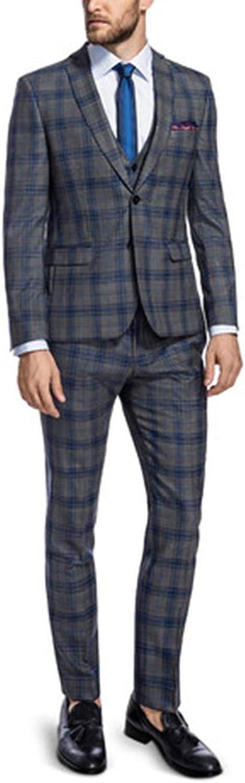 Men's Suits Grey Business Casual Blazer 3-Piece Wedding Party Slim fit
