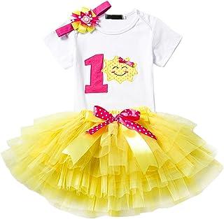 IBTOM CASTLE Baby Girl It's My 1st Birthday 3Pcs Outfits Skirt Set Romper+Tutu Dress+Headband Cake Smash Crown Bodysuit