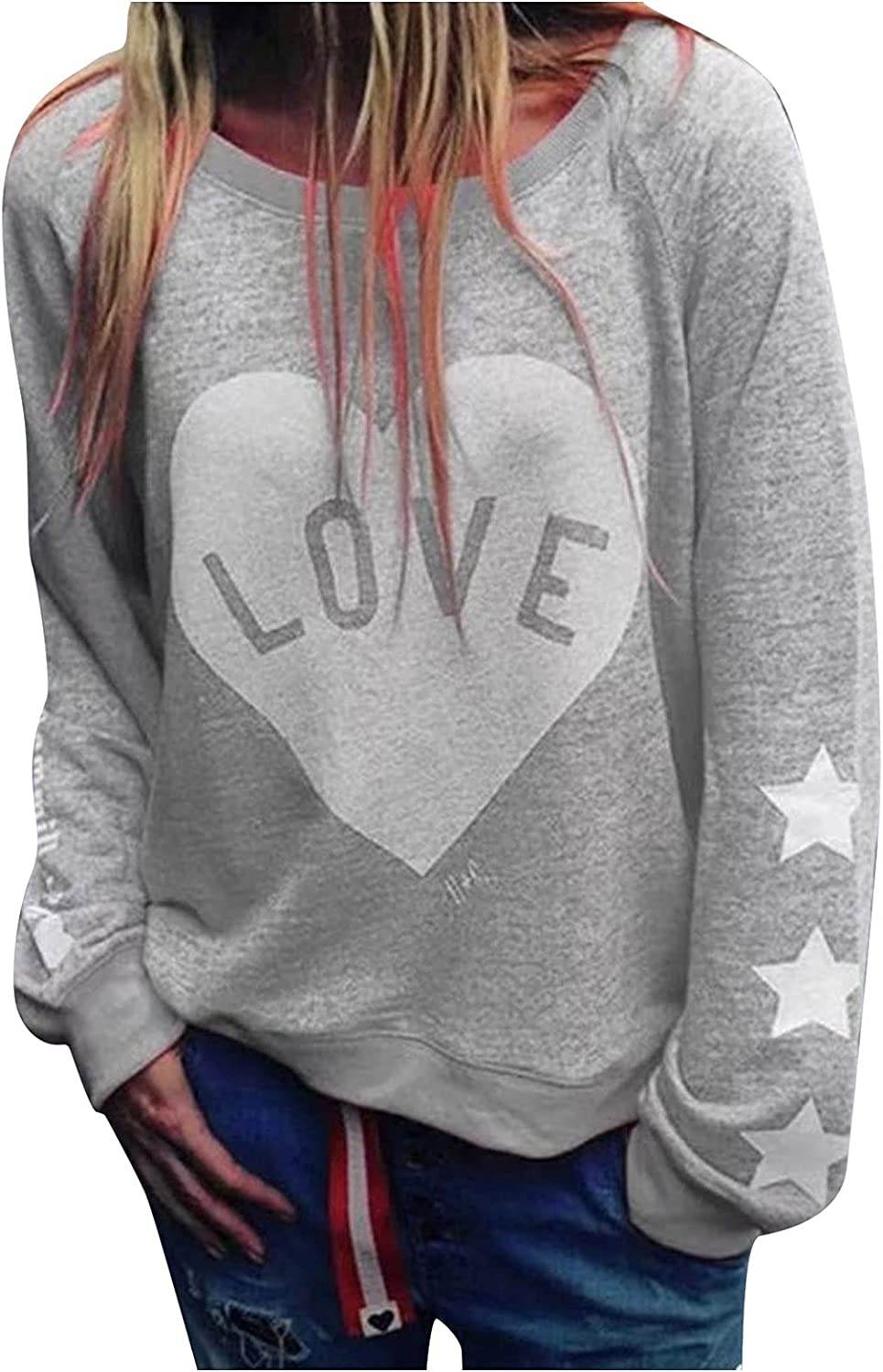 Crewneck Sweatshirt Women Cute Heart Solid Graphic Loose Oversized Pullover Casual Long Sleeve Crop Top Plus Size