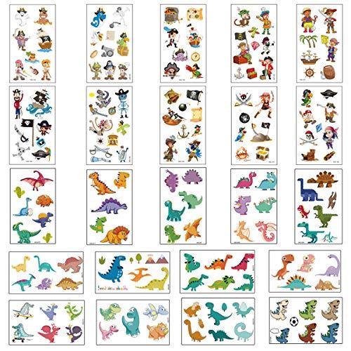 Xiuyer Kinder Temporäre Tattoo Set, 23 Blätter Piraten und Dinosaurier Tattoo Aufkleber Farbe Cartoon Kindertattoos Stickers für Jungen Mädchen Geburtstag Geschenk Party Taschen Füller