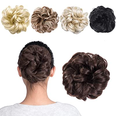 MelodySusie Hair Bun Extensions Wavy Curly Mess...