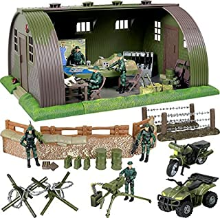 Click N' Play Mega Military Army Base Barrack Command Center Play Set with Accessories -74 Pieces.