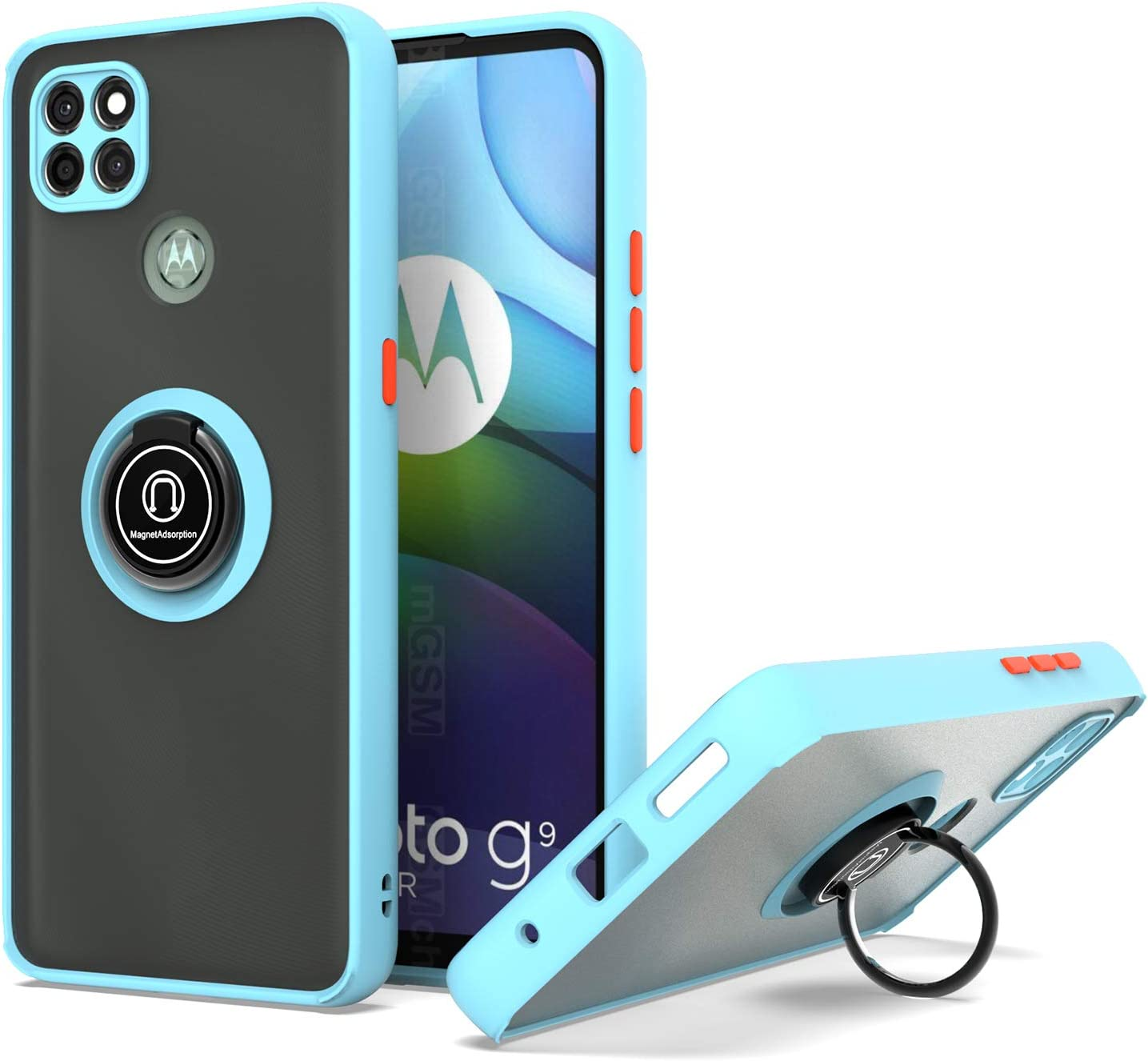KWEICASE Cell Phone Case for Motorola Moto G9 Power, Moto G9 Power Case with 360 Degree Rotate Magnetic Ring Kickstand Soft Bumper Matte Clear Back Shockproof Protective Cover Case, Light Blue
